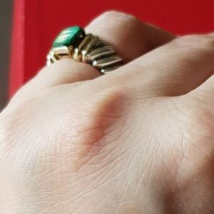 David Yurman Jewelry - David Yurman Malachite Cable Ring With Gold